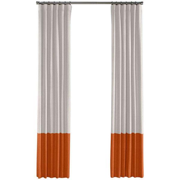 Pale Gray And Burnt Orange Linen Color Block Curtain Single Panel