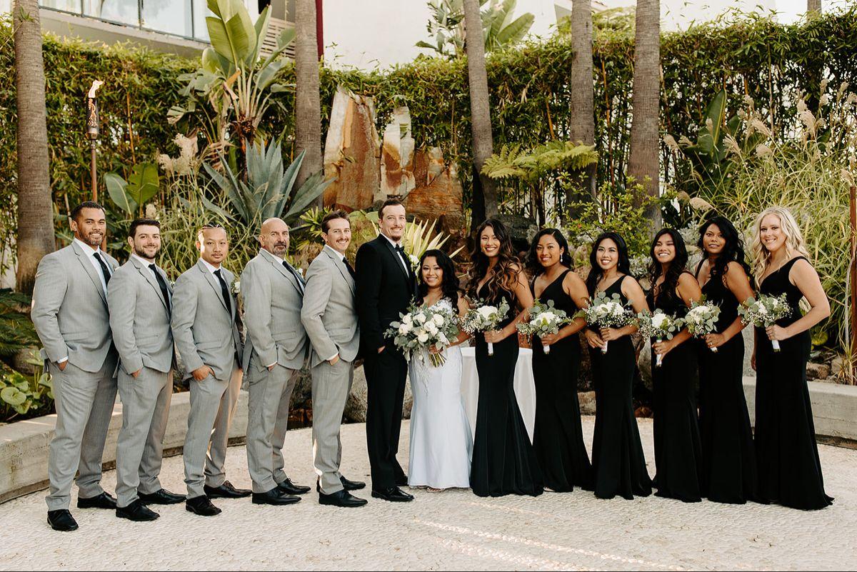 Bridesmaids And Groomsmen Groomsmen Grey Black Groomsmen Suits Black Bridesmaid Dresses [ 801 x 1200 Pixel ]