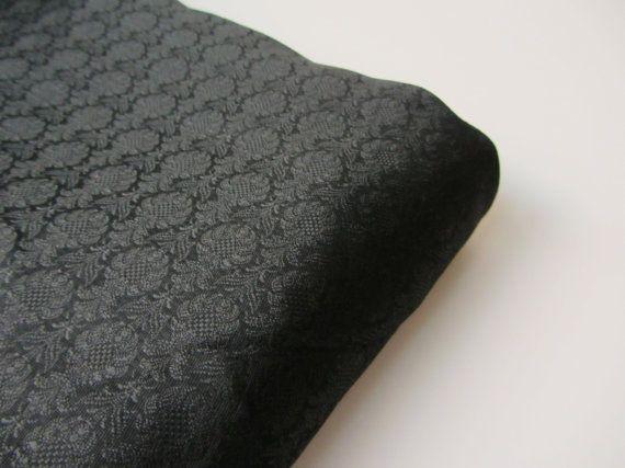 Black small flowers silk brocade black tie silk by SilksByUmf