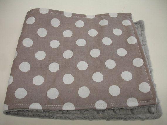 Grey Medium Dots Baby Burp Cloth with Minky on Etsy, $4.00