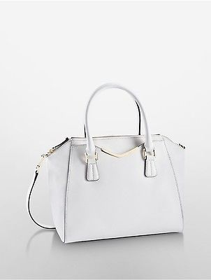 4c0fd16a5ea Calvin Klein Tapered Saffiano Leather Satchel White ...