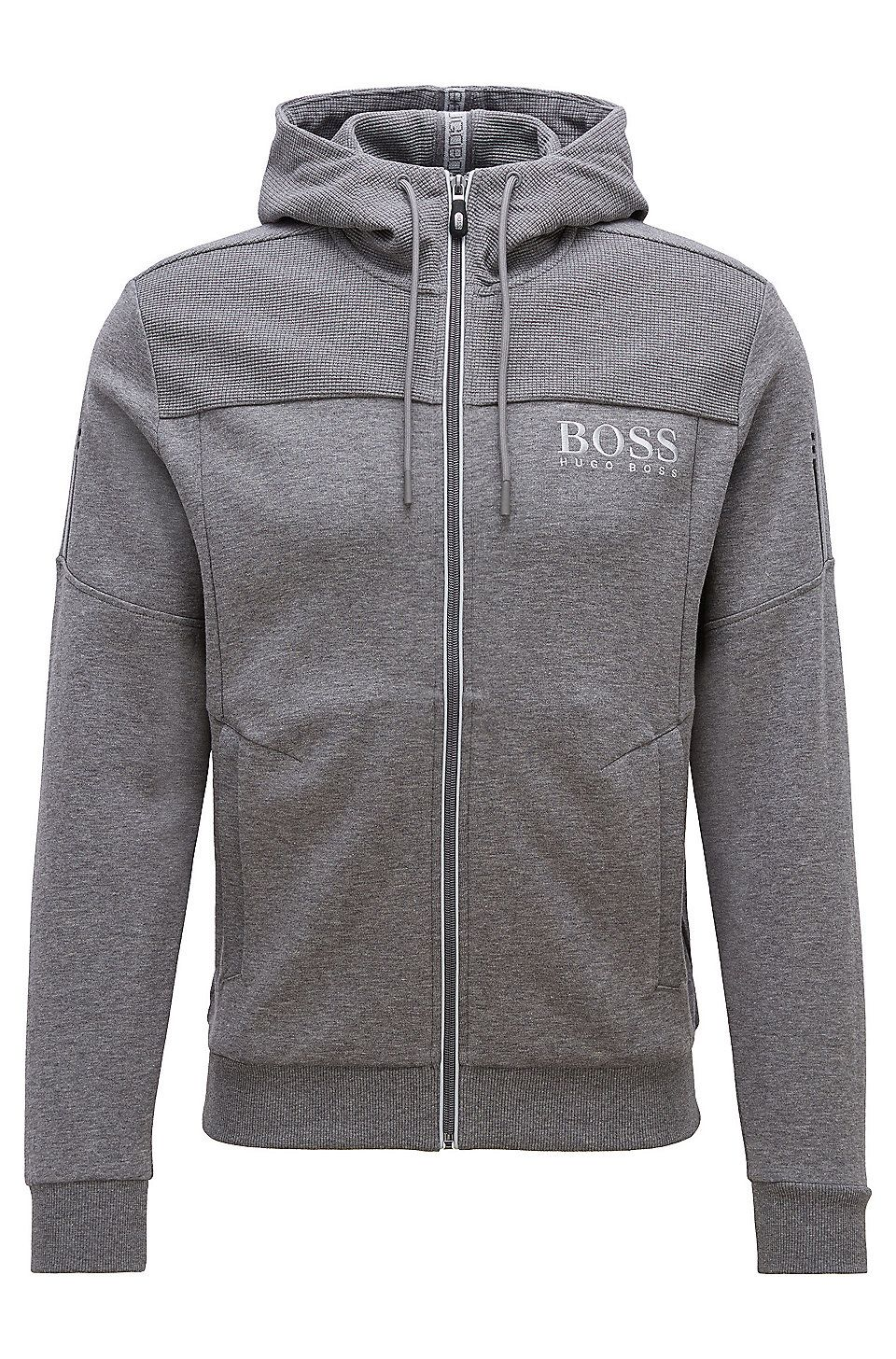 504718257 HUGO BOSS Hooded sweatshirt with contrast zip and logo detail - Grey  Sweaters and Cardigans from BOSS for Men in the official HUGO BOSS Online  Store free ...