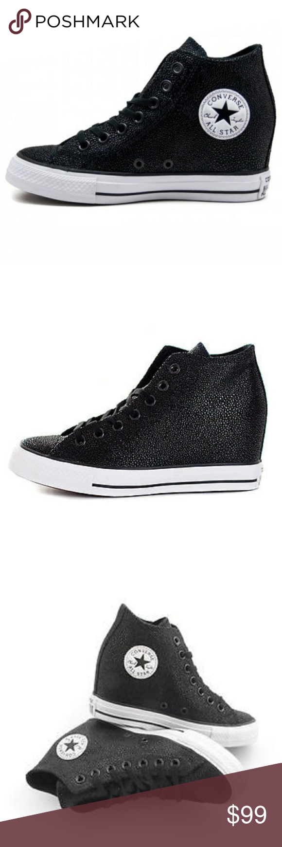 deff533d3a4c NWT Converse Chuck Taylor All Star Leather Wedge - Brand new in box - Black  and