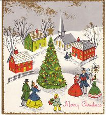 vintage christmas card carolers tree old fashioned village made in