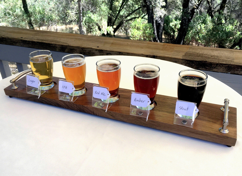 Beer Flight Set With Glasses Walnut Wood Beer Tasting Set Etsy Beer Sampler Beer Tasting Beer Wood