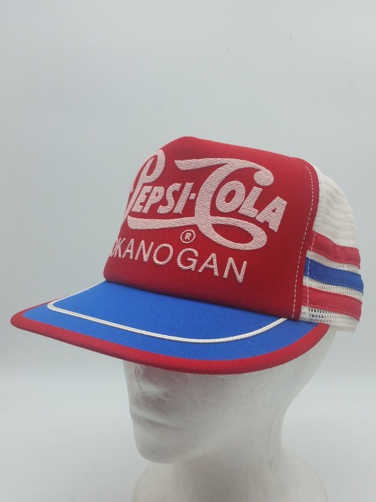 bf57642dc Vintage Pepsi Cola RED 3 Side Stripe Mesh Snapback Trucker Hat Cap ...