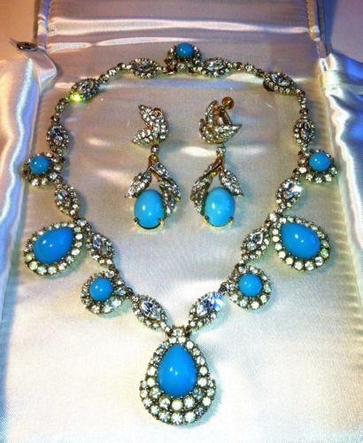 Vintage Ciner Costume Turquoise Diamond Necklace with Jomaz Earrings | eBay & Vintage Ciner Costume Turquoise Diamond Necklace with Jomaz Earrings ...