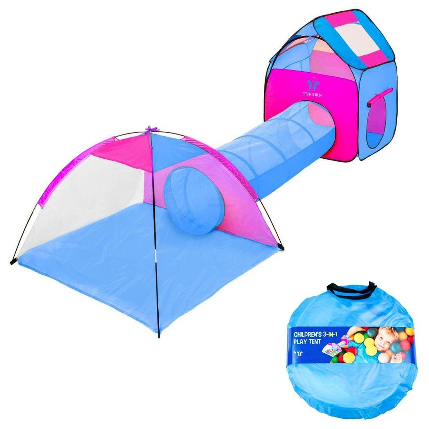 Kids Play Tent With Tunnel 3-in-1 Playhut by Unicorn Hours of Indoor  sc 1 st  Pinterest & Kids Play Tent With Tunnel 3-in-1 Playhut by Unicorn Hours of ...