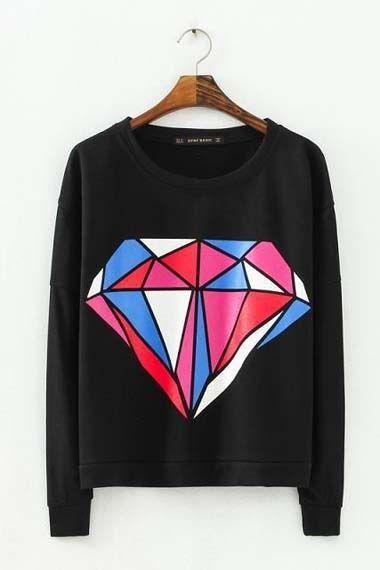 Black Long Sleeve Diamond Print Sweatshirt