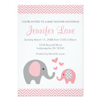 Shop Elephant Baby Shower Invite Girl Created By HappyValleyDesigns.