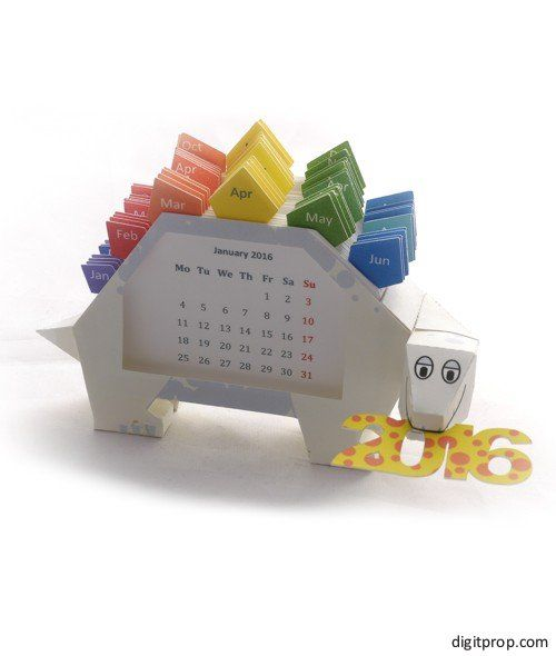 Cute 2016 Dino Calendar for the desk Make your own with the free