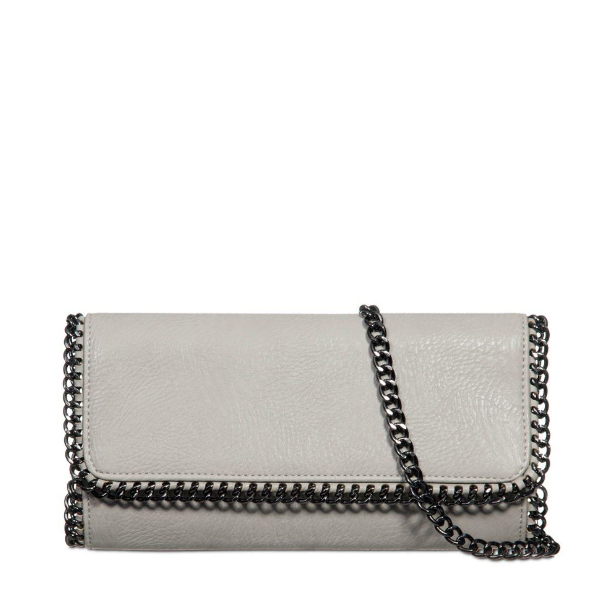 Lorette Grey Chain Trim Clutch Bag from Bag Envy