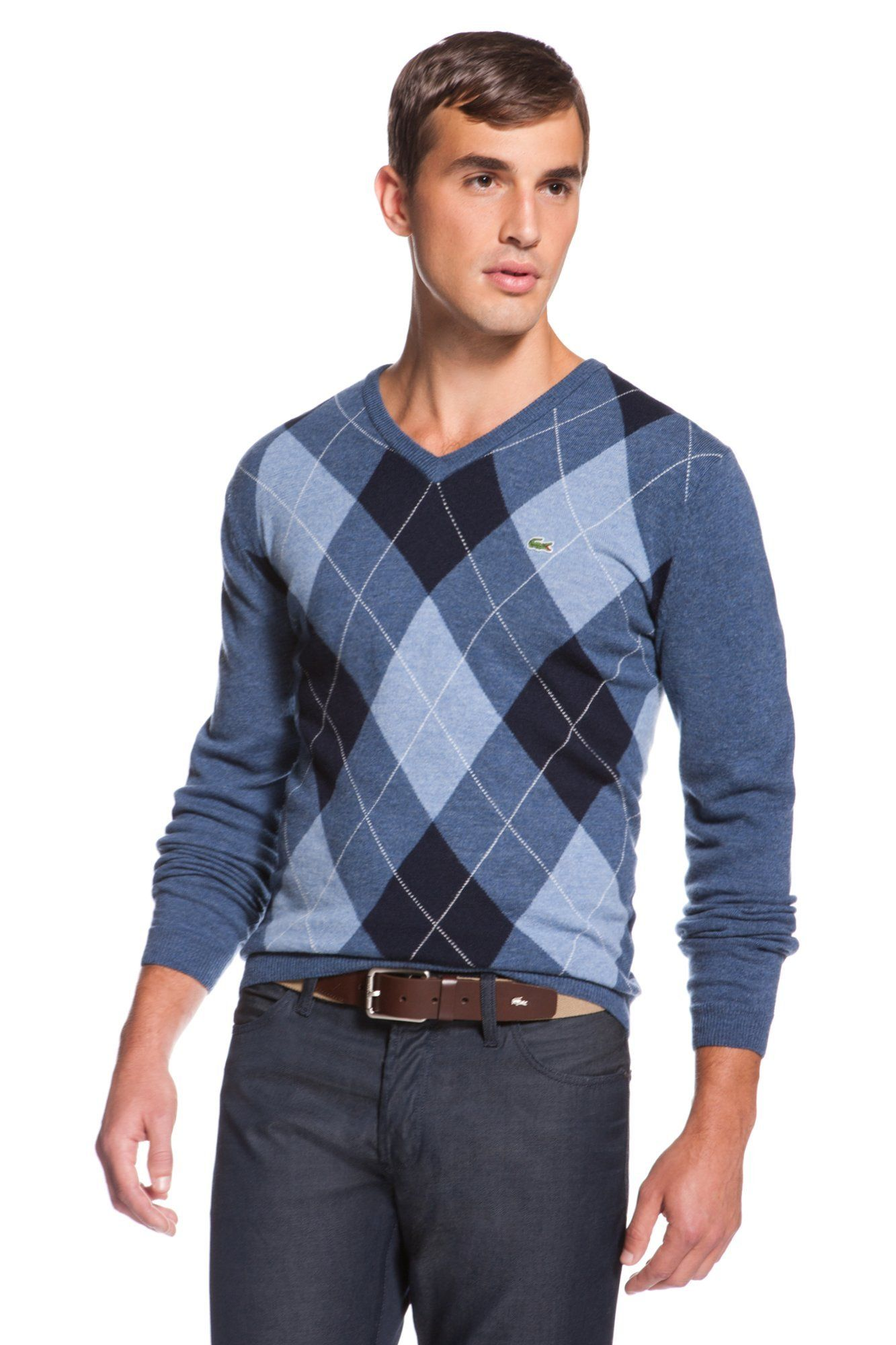 5b6d9d04b18 Lacoste Wool Argyle V-neck Sweater   Sweaters