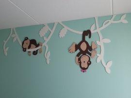 Aapjes hangend in lianen nieuw mdf deco mdf houten muurdecoraties decoratie for Kinderkamer deco