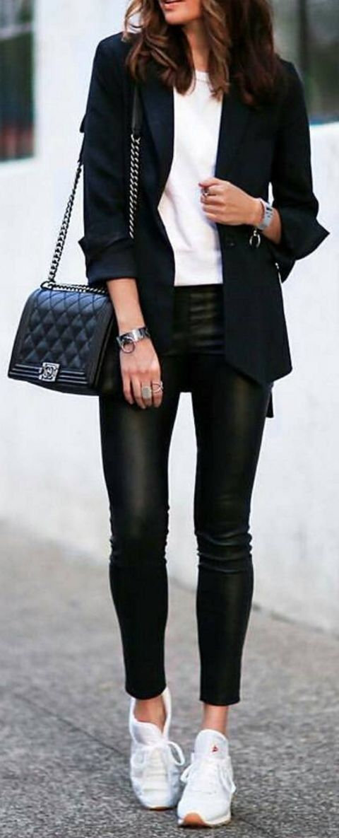 casual style perfection / bag + white top + blazer + leather pants + white sneakers