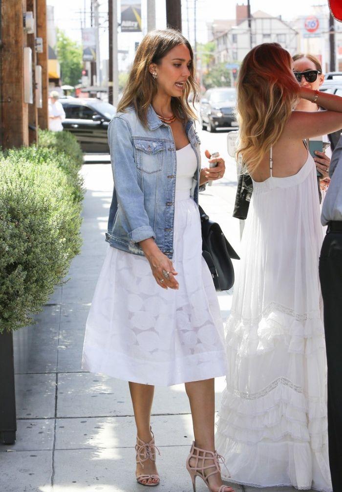 Denim Jacket With White Dress And Flats White Dress Dresses Celebrity Style