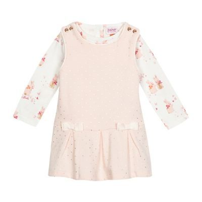 5371a0fd0b6c Baker by Ted Baker Baby girls  pink dotted dress and bunny print top set…