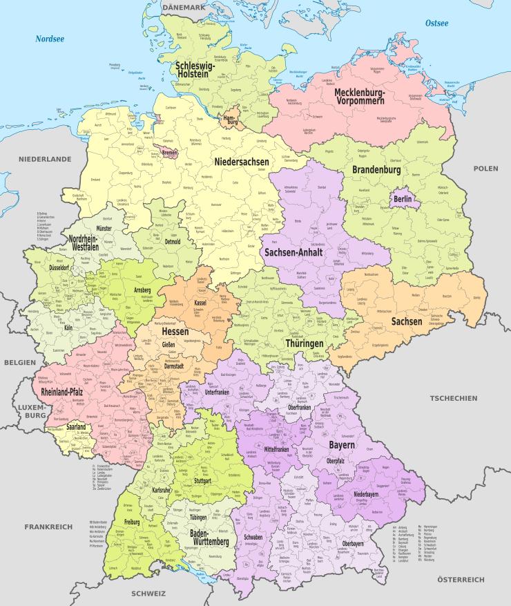 Deutschland Karte Städte.Politische Gliederung Deutschlands In Länder Regierungsbezirke