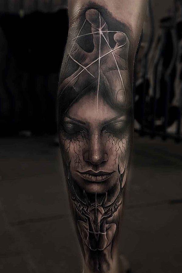 Horror Woman Portrait Tattoos By Sam Barber London United Kingdom Calf Tattoo Tattoos Sleeve Tattoos