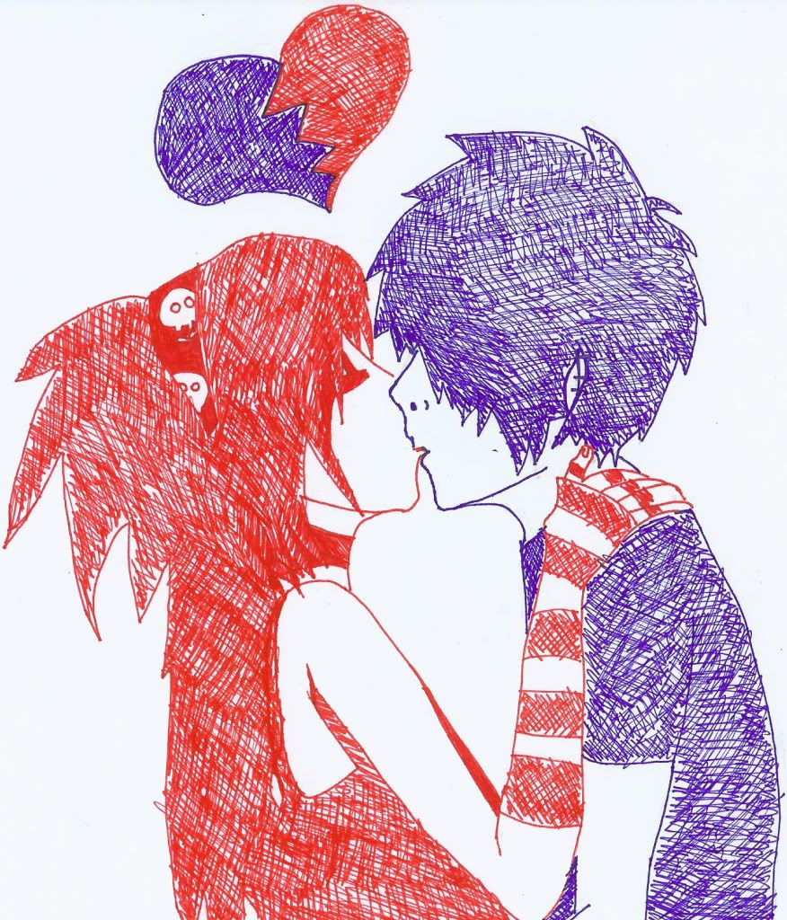 Emo Kiss By Konanskyechan On Deviantart Cute Emo Couples Emo Love Sick Drawings