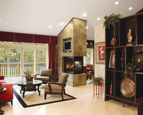 Two Sided Fireplace Design, On One Side Built In On The