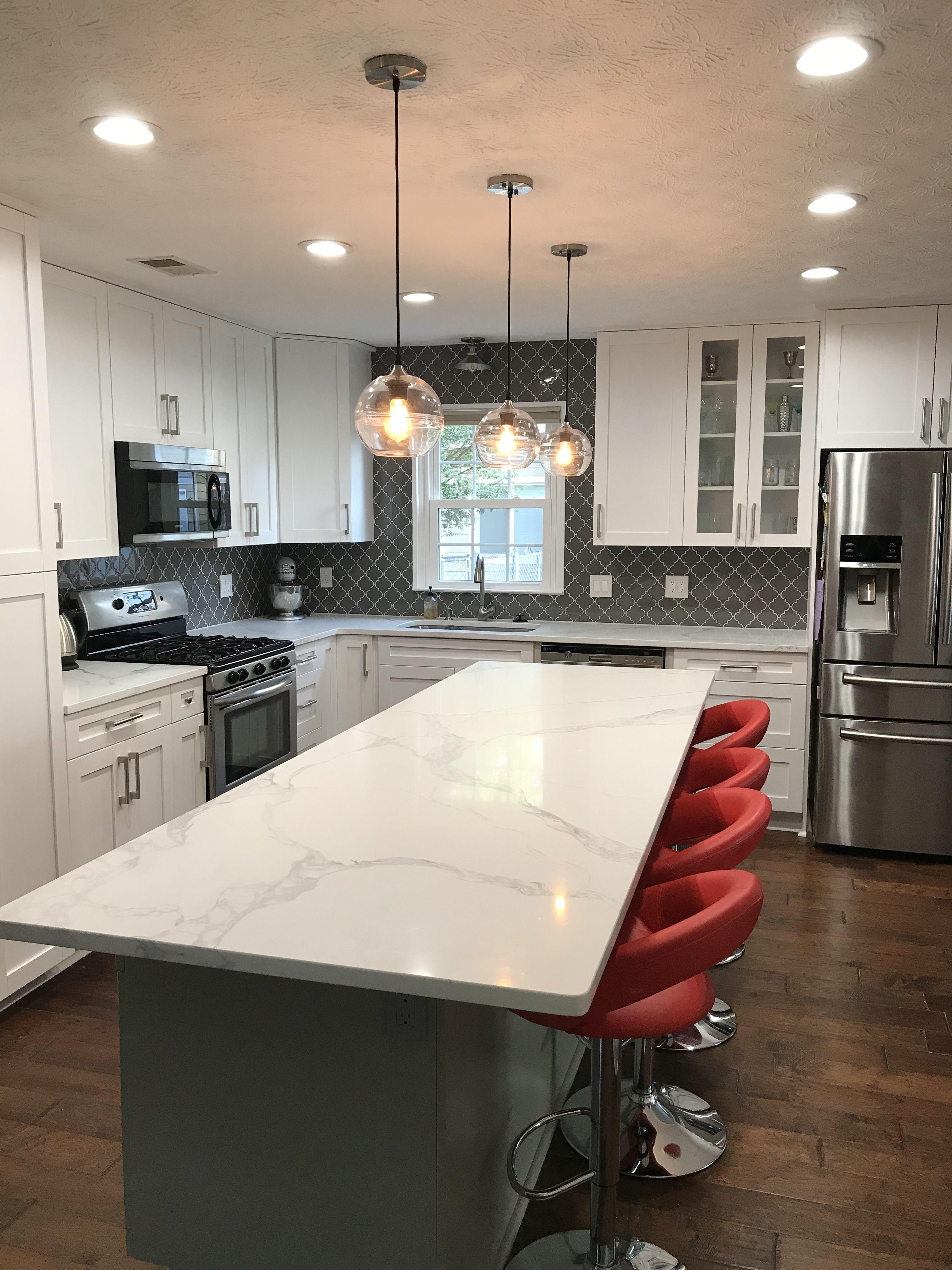 Concrete Countertops With White Cabinets