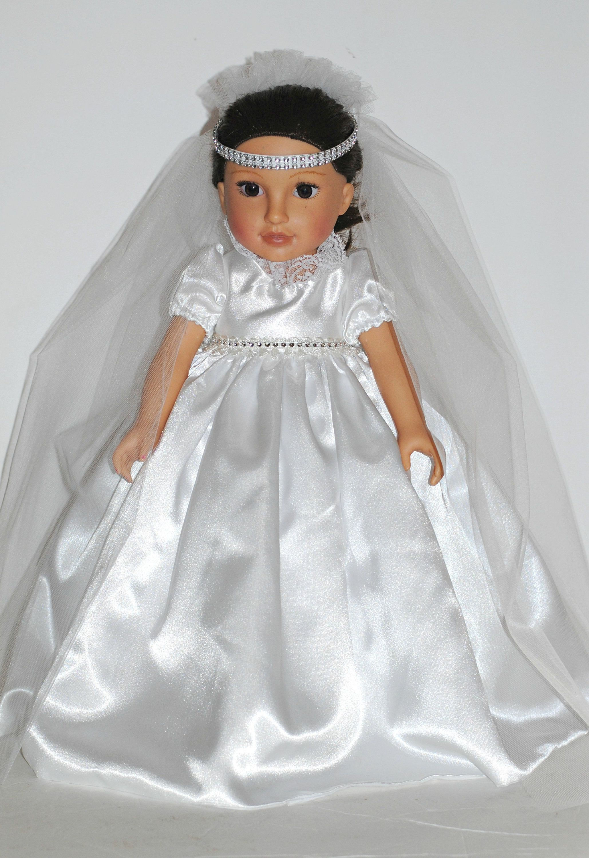 Princess Bride Doll Gown, OOAK White Satin Wedding Dress for 18 inch Dolls, Fits American Girl, Headpiece with Veil, Bouquet, Lace Garter #bridedolls