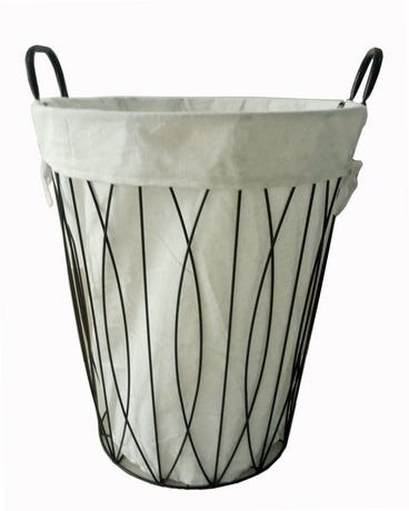Mainstays Wire Laundry Hamper Black Frame With White Liner