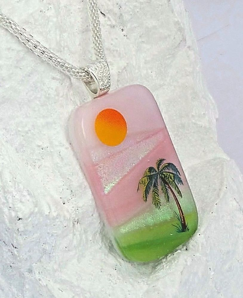Tranquil Tropical Palm Tree Glass Jewelry Pendant Necklace In Gift