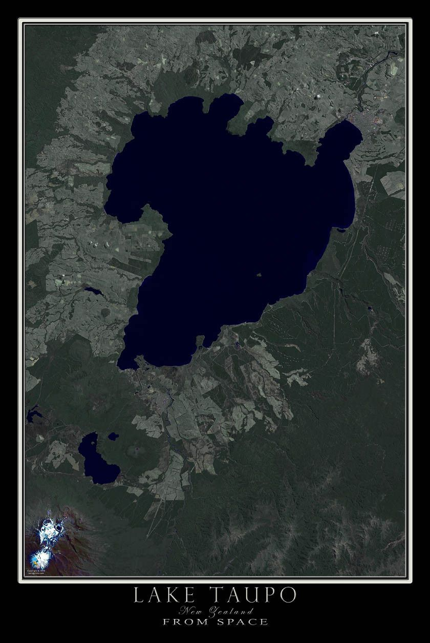 Lake Taupo New Zealand Satellite Poster Map Lakes And Scenery - Satellite world map poster
