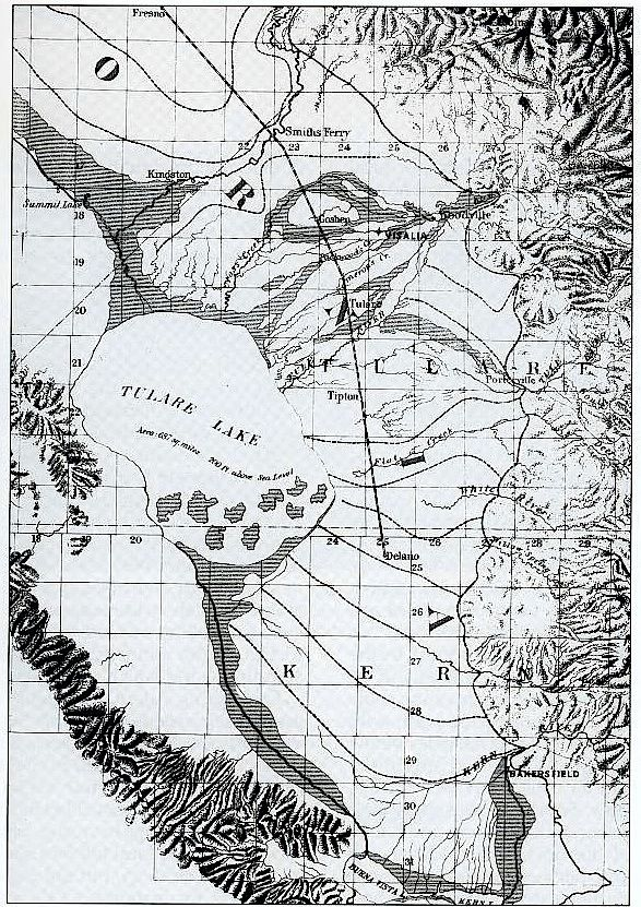 Map of Tulare Lake Central California c1874 My Surroundings