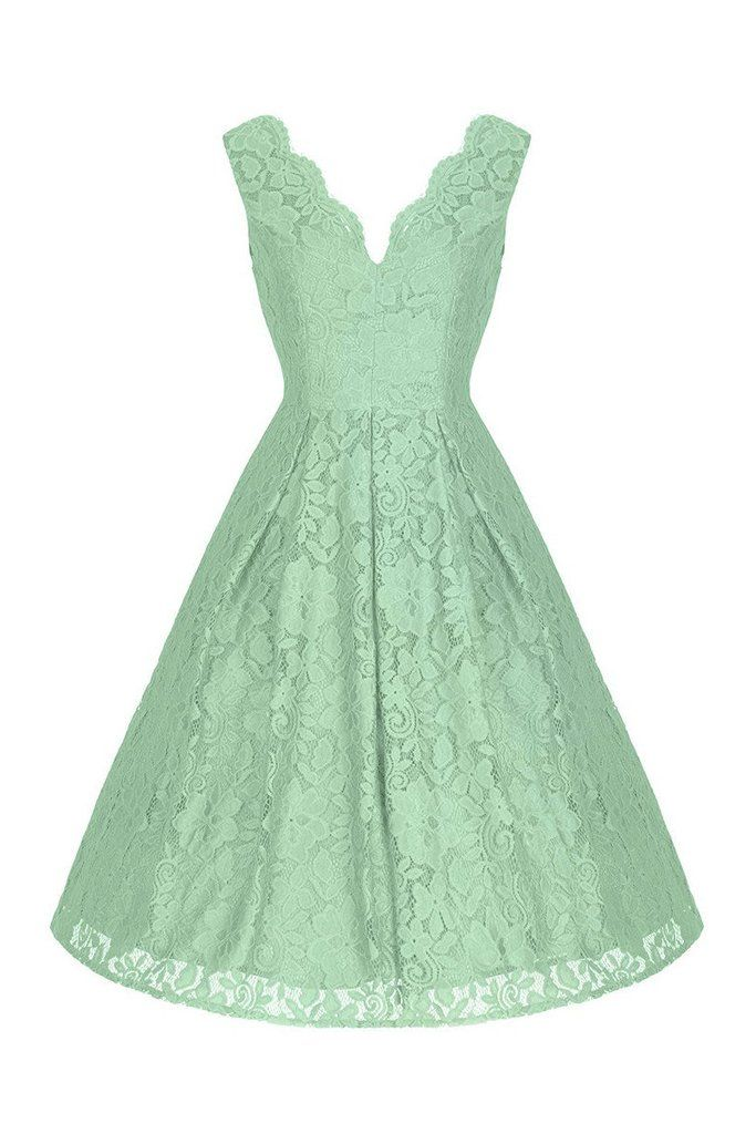 64aac4470a55 Light Green Embroidered Lace Sleeveless V Neck 50s Bridesmaid Swing ...