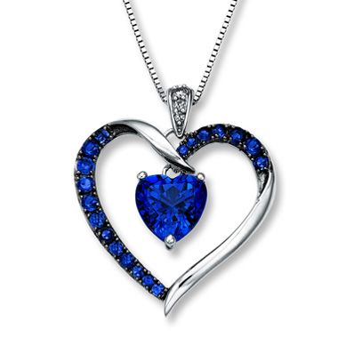 Dainty Blue Sapphire and Diamond Heart Pendant in 14K Yellow Gold