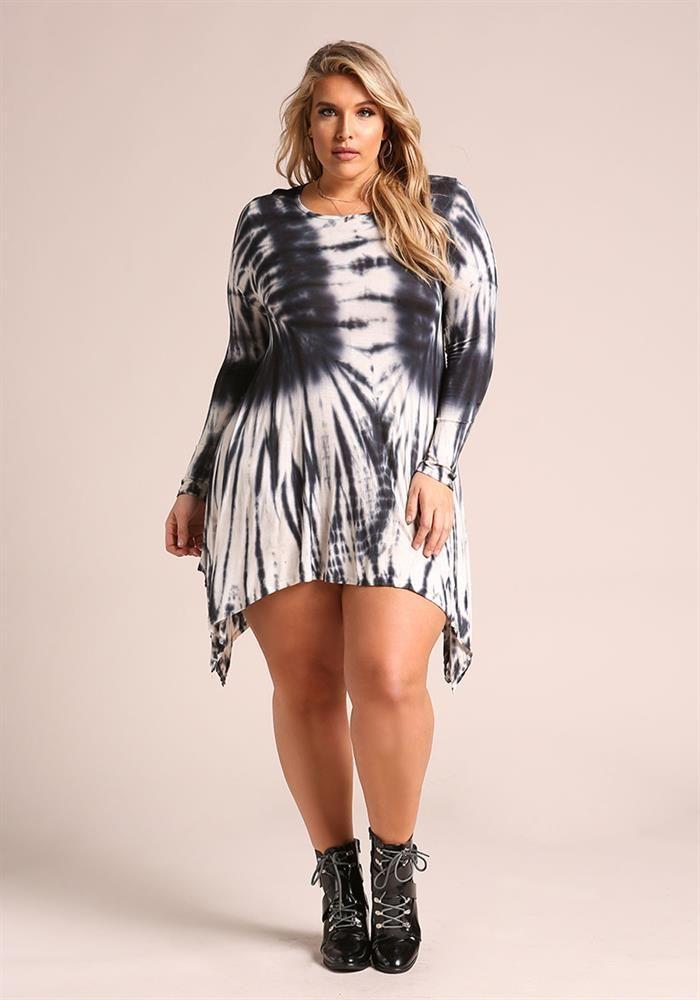 Plus Size Clothing Plus Size Tie Dye Pointed Shift Dress