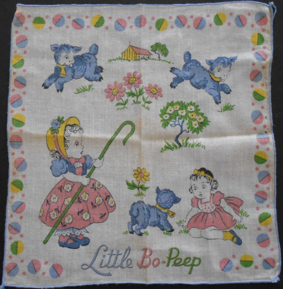 "Vintage Hankey Child's LITTLE BO PEEP 9' x 8 1/2"" cotton"