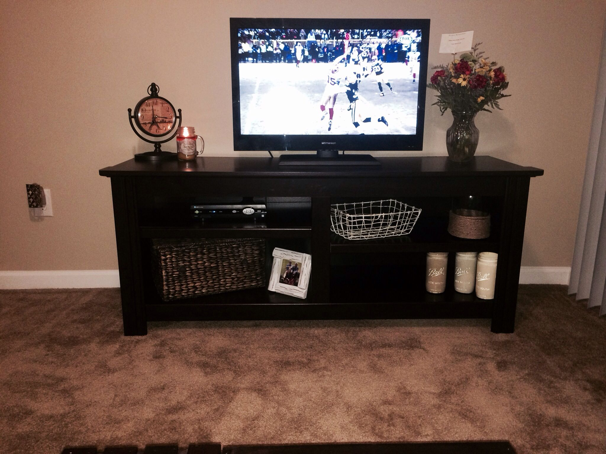 entertainment center/media center/tv stand decor. rustic country