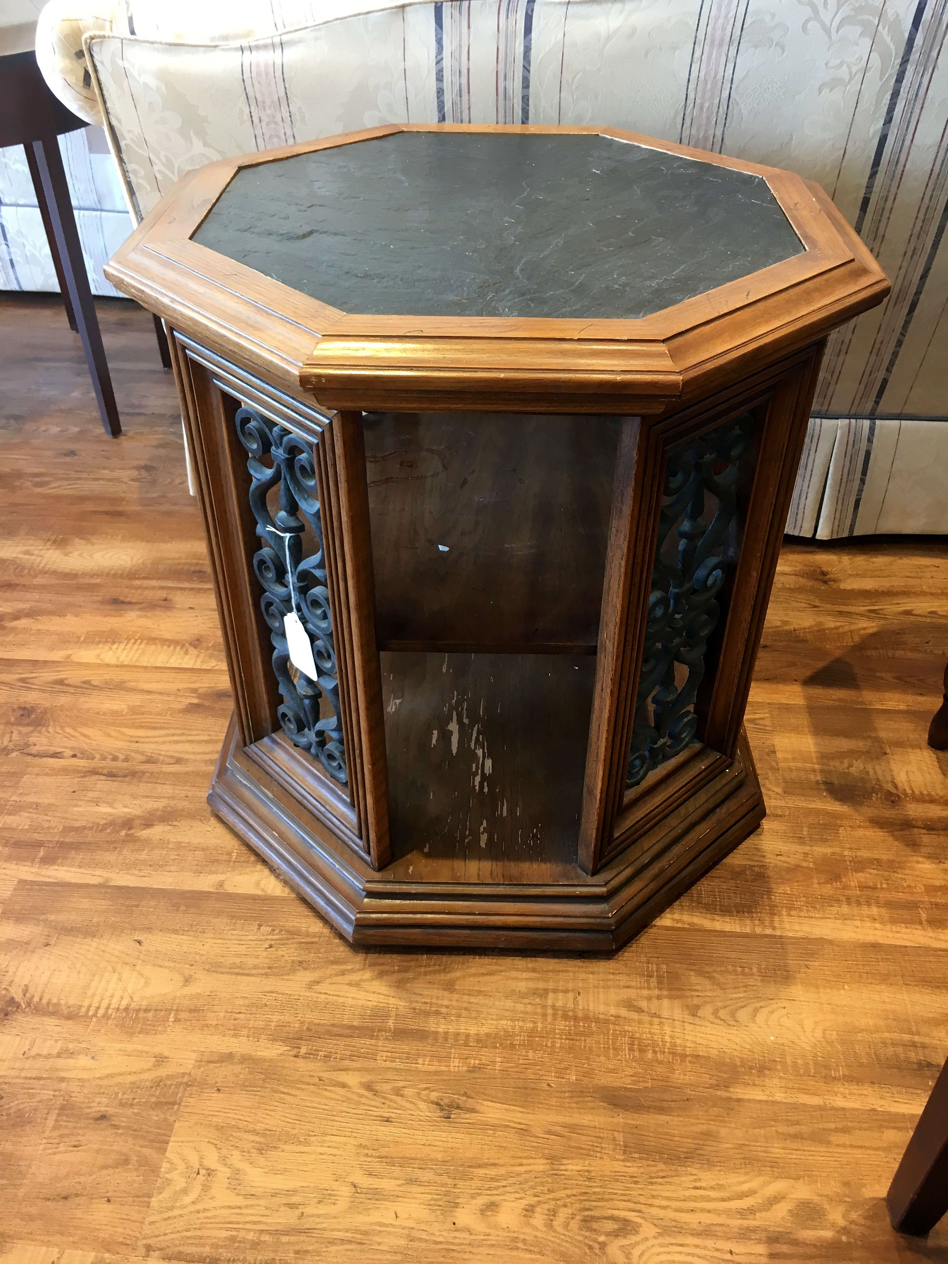 Slate Top Wrought Iron Octagon End Table 50 00 Wrought End