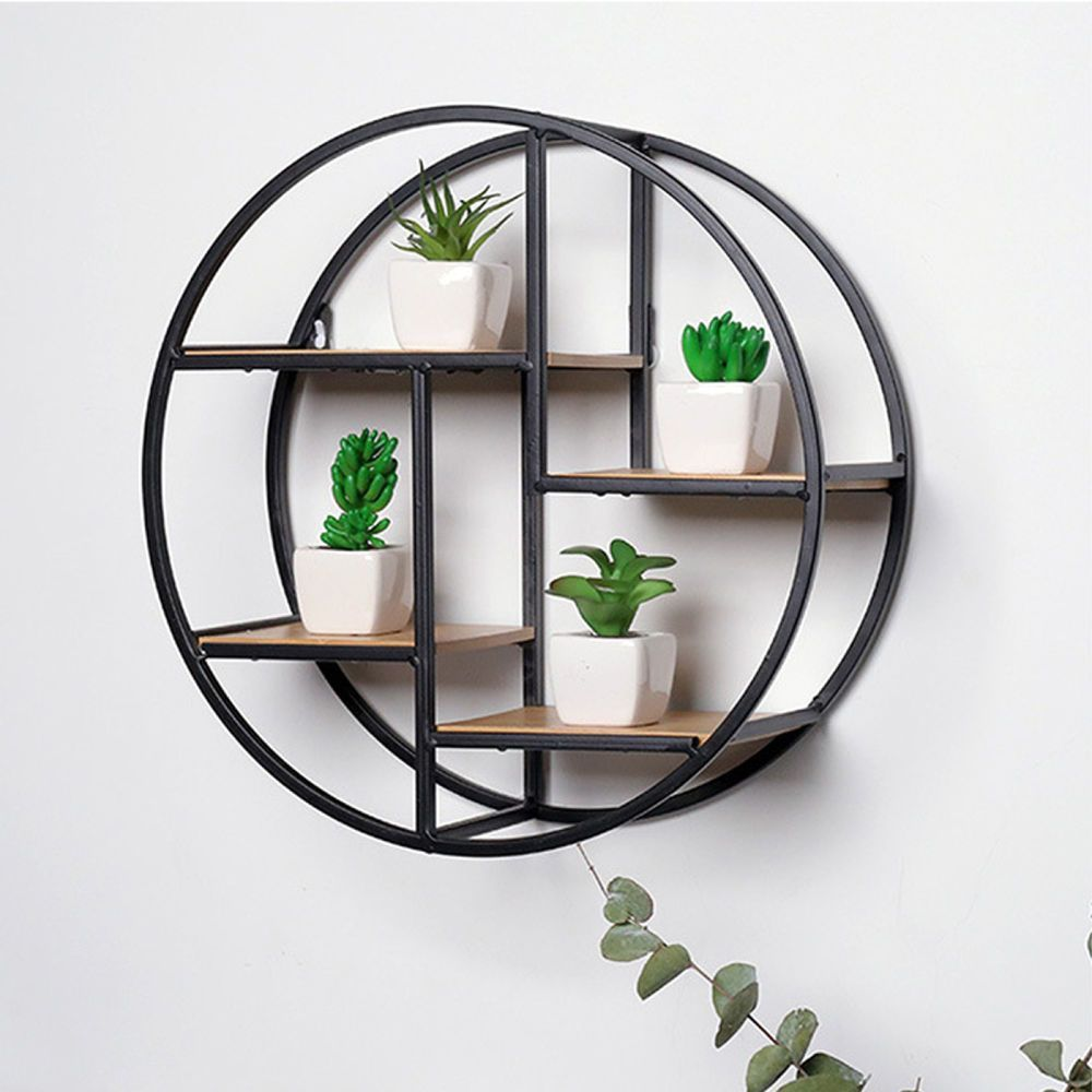 4 Tiers Round Wood Wall Bookshelf Rack Iron Craft Industrial Style Storage General Wall Hanging Storage Hanging Storage Shelves Wall Bookshelves