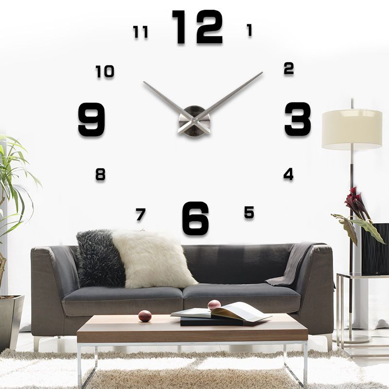design wand uhr wohnzimmer wanduhr spiegel edelstahl wandtattoo deko xxl 3d in uhren schmuck. Black Bedroom Furniture Sets. Home Design Ideas