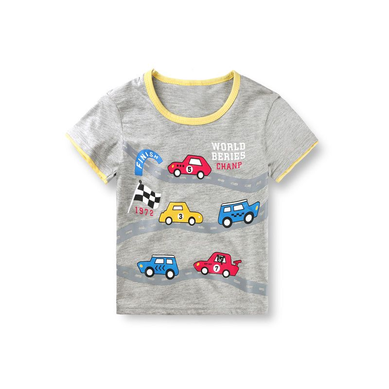2015 new style cotton boys clothes shirts racing car design t shirt kids short sleeve tops