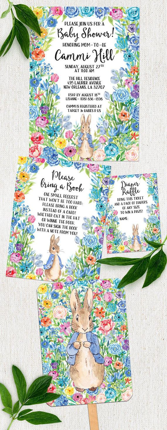 Printable Invitation Suite- Peter Rabbit Baby Shower Invitation ...