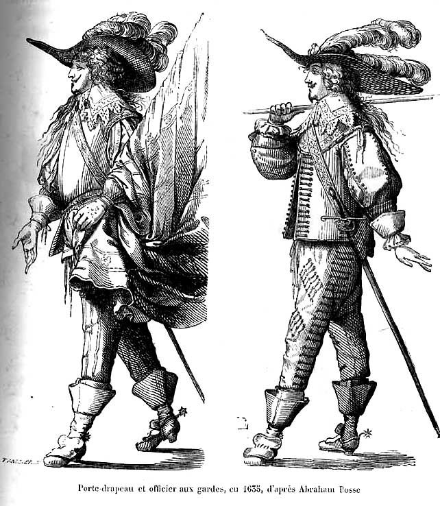 Example of triple-plumed bearer   Standard bearer and officer of the Guards, c. 1635, after Abraham Bosse (Quicherat)