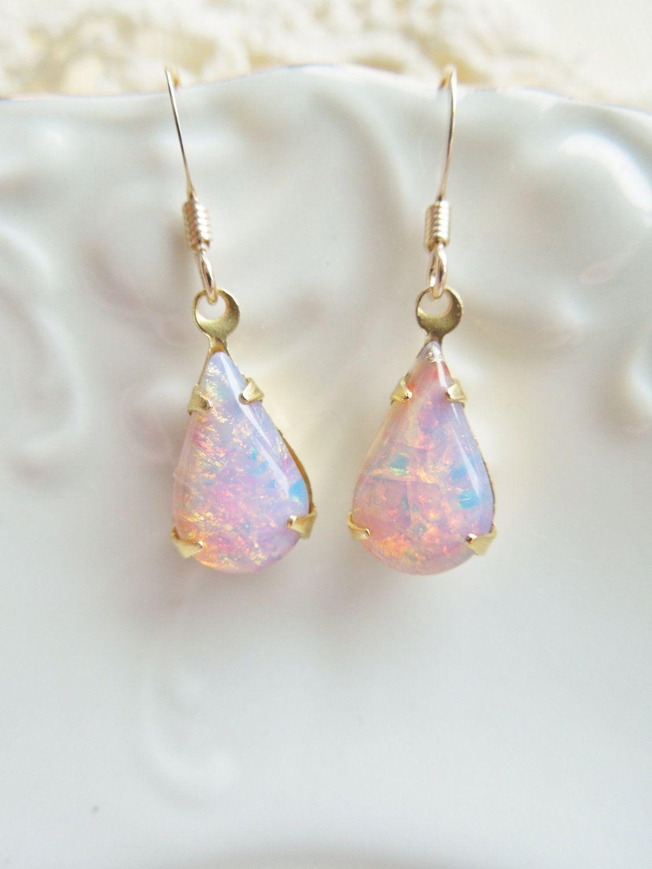 4abd8bac8 Vintage Fire Opal Earrings - Vintage Glass Harlequin Opal Earings,  Teardrop. Gold Filled, Birthstone, Shabby Chic. $22.00, via Etsy.