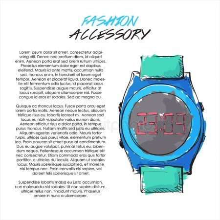 Watercolor Fashion Accessory Banner Vector Illustration Wristwatch  Stoc