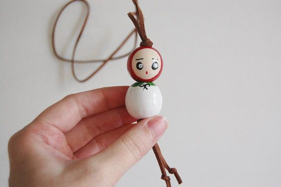 Cute wood bead doll necklace, little mushroom doll  necklace for kids @nawteakittea on Etsy.