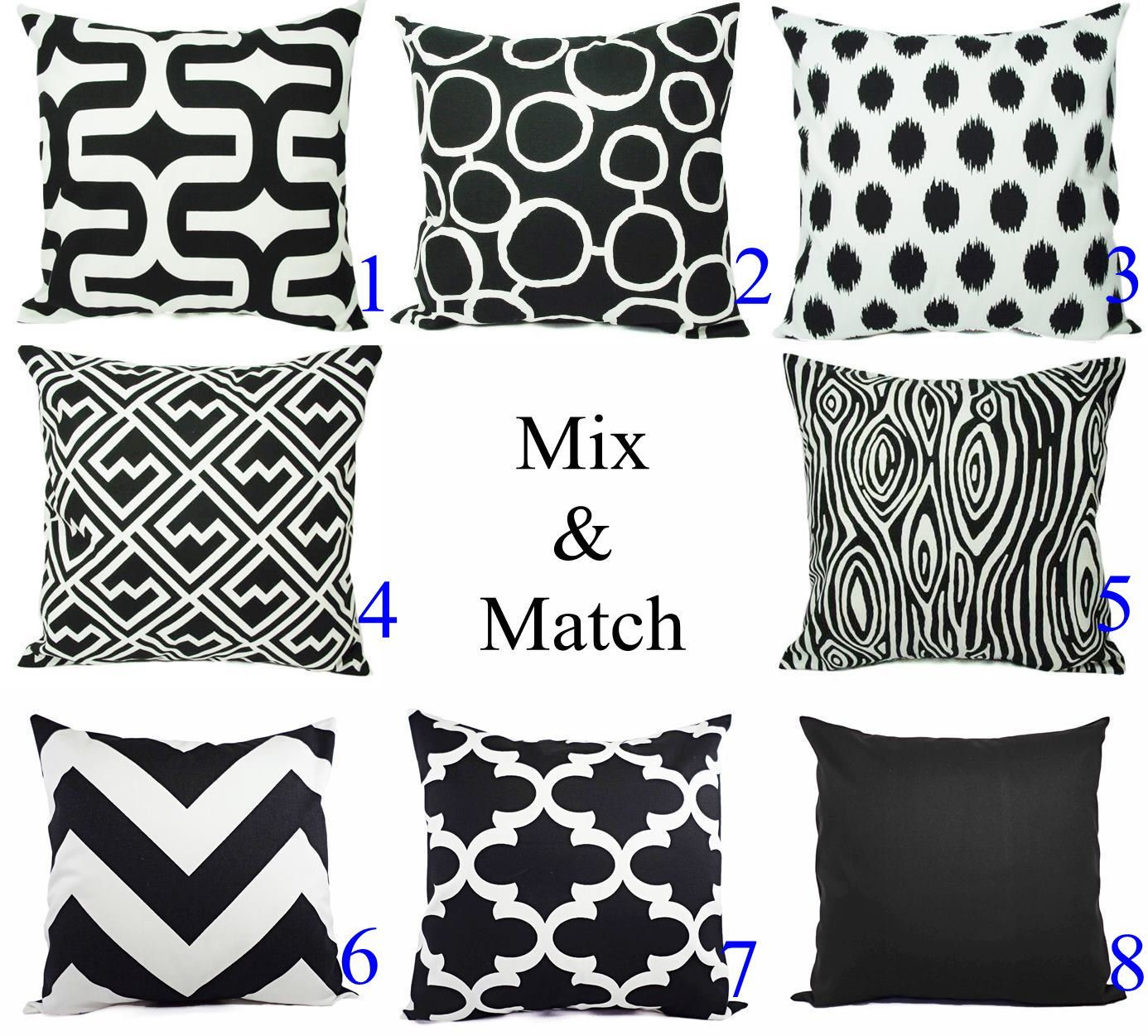 Black and White Pillow Cover - Modern Black Throw Pillow ...