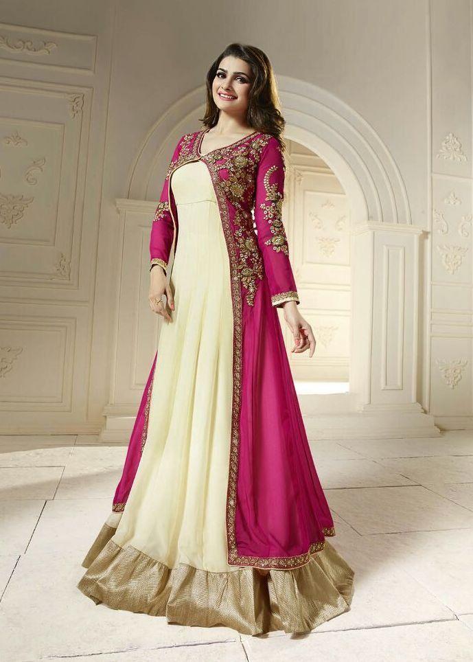 Indian/ Bollywood Anarkali Dress Pink/Cream and Sea-Green/Cream ...