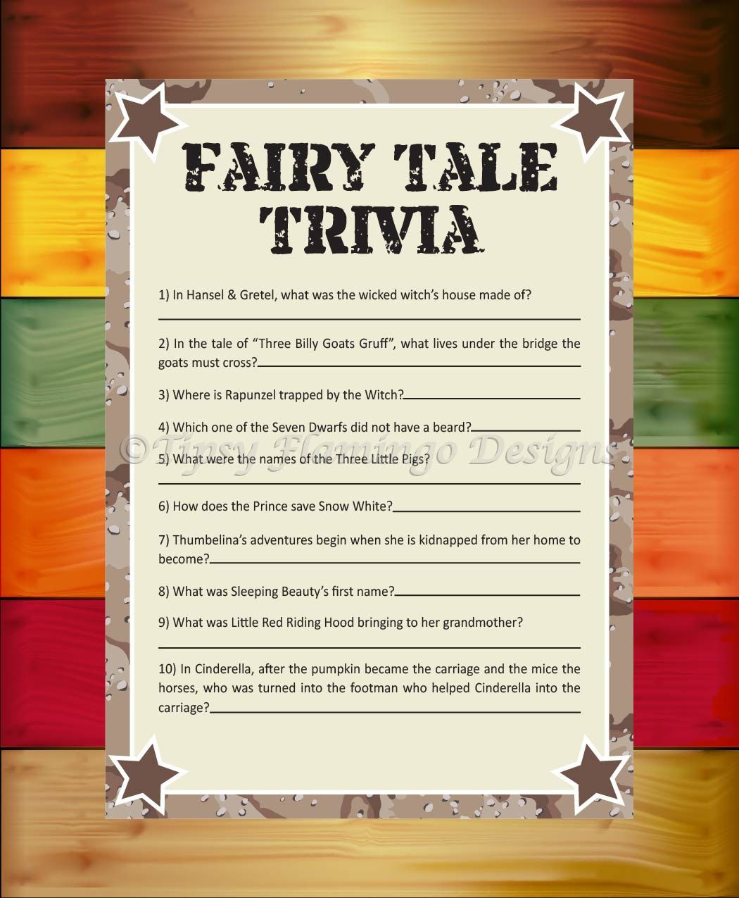 Fairy Tale Trivia Baby Shower Game Shower Game Desert Camo Star Military Printable