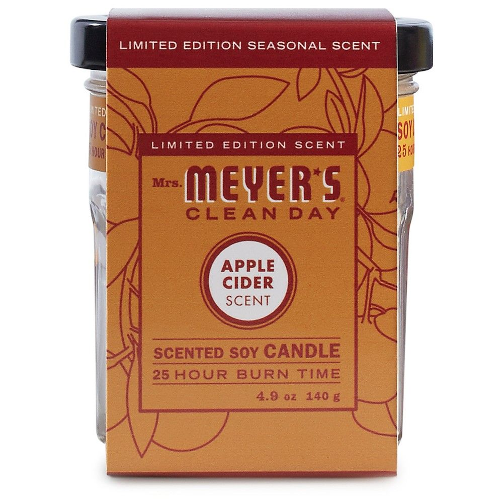 Mrs Meyer S Apple Cider Small Soy Candle 4 9oz Natural Glass