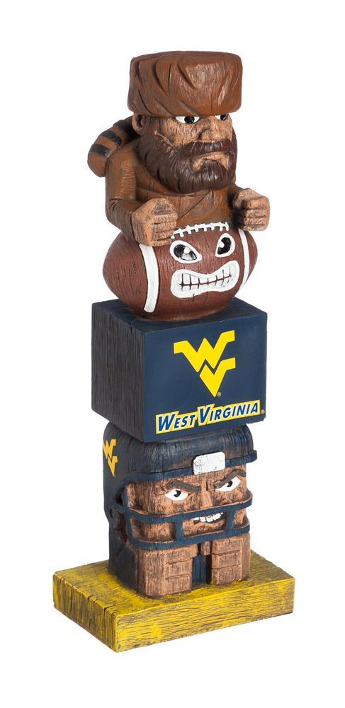 Your passion for your team won't go unnotcied with the Evergreen® West Virginia Mountaineers Tiki Totem. Tiki Totem Team totem with team graphics Made of handpainted polystone Safe for indoor and outdoor use Additional Details Measures: 16in tall Officially licensed collegiate product